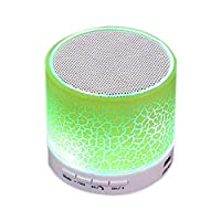 LED Light MINI Bluetooth Speaker A9 TF USB Wireless Portable Music Sound Box Subwoofer Loudspeakers with Mic For Cellphone PC for Festival Gift (Green)