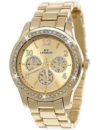 Designer Strass Damenuhr,Moderne Damen Armband Uhr,Chronograph Optik,Gold,D141