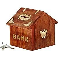 Preisvergleich für Valentinstag Geschenke, Holz Hütte Form Geld Bank, Schmetterling Inlay Münzbox, Sparschwein braun Farbe