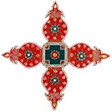 Wooden Rangoli Decoration,Home Decor (65 Cm X 1 Cm X 65 Cm, Red, Pack Of 5)