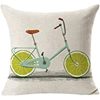Vi.yo 1 Unid 44 * 44 cm Fruit Bicycle Throw Pillow Compuesto de Lino Fruta Bicicleta Throw Pillow Case Cushion Cintura size 44x44cm (Verde)