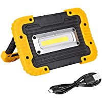 Qwhome Portátil LED COB Trabajo luz, Luces de inundación al Aire Libre Impermeable, Incorporado batería 4400Mah para Camping, Senderismo, reparación, Taller, construcción de automóviles,Yellow