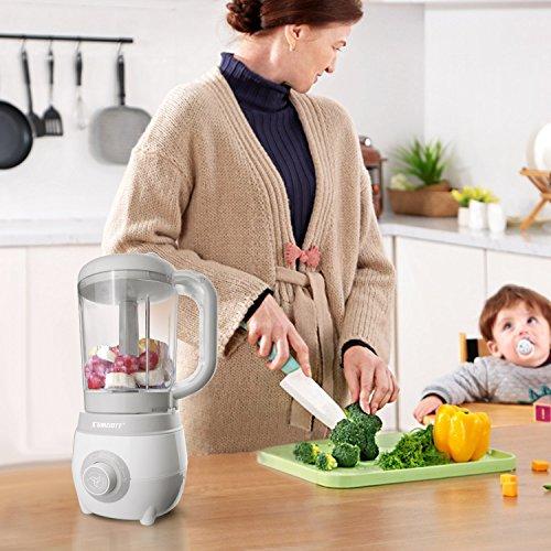SUMGOTT Babynahrungszubereiter - 4 in 1 Babynahrung Dampfgarer und Mixer mit Dämpfen, Mixen, Auftauen und Heizung Multifunktionen Küchenmaschine - 5