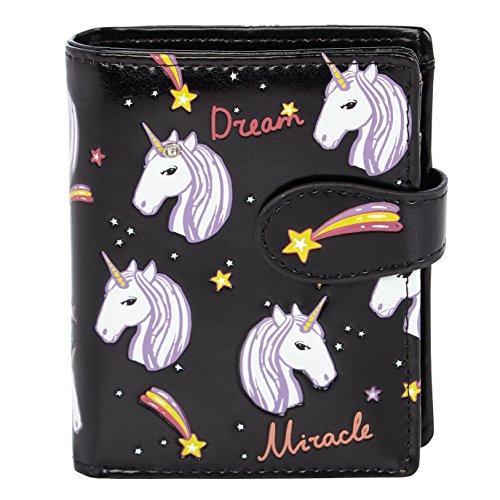 Shagwear - Monederos para mujeres jóvenes: Varios colores y diseños: (Unicornios / Unicorns Blk)