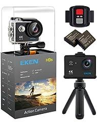 EKEN H9s 4K Action Camera, Caméra de sport étanche Full HD Wifi avec Vidéo 4K30/ 2.7K30/ 1080p60/ 720p120fps, 12MP Photo et 170 objectif Grand angle, comprend 10 kit de montage, 2 piles