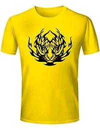 T Shirt - Half Sleeve Round Neck Tiger Graphics Printed 100% Cotton T Shirt - Wild Animal Tiger Graphics Print...