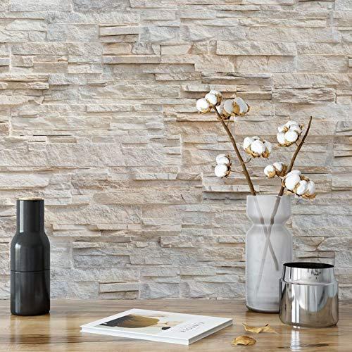 Fototapete Natursteinmauer Tapete Vlies Steinoptik Mauer Stein 3D täuschend echt beige Wall-Art 288x260 cm