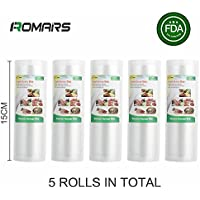 Pack of 5 Vacuum Food Sealer Rolls, 15x500 cm (tota 25m), 5Rolls   Many dimensions available   For home/domestic use   For vacuum sealer equipment