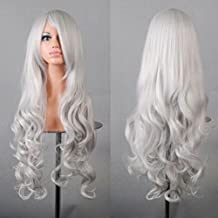 "32"" 80cm Long Hair Heat Resistant Spiral Curly Cosplay Wig(Silver White)?"