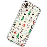 Handytasche Huawei P20 Weihnachten Handyhülle Durchsichtig Schutzhülle Silikon Dünn Case Transparent Handyhüllen Kirstall Clear Case Etui TPU Bumper Schale,Schneemann Weihnachtsbaum