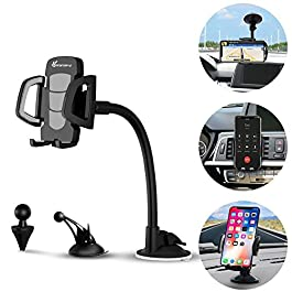 Car Phone Holder, Vansky 3-in-1 Car Phone Mount Air Vent Dashboard Windshield Phone Holder Cradle w/One Button Release and 360°Rotation Freely Adjustable for iPhone X/8/7/7 Plus/6,LG,Sony,HTC,Huawei