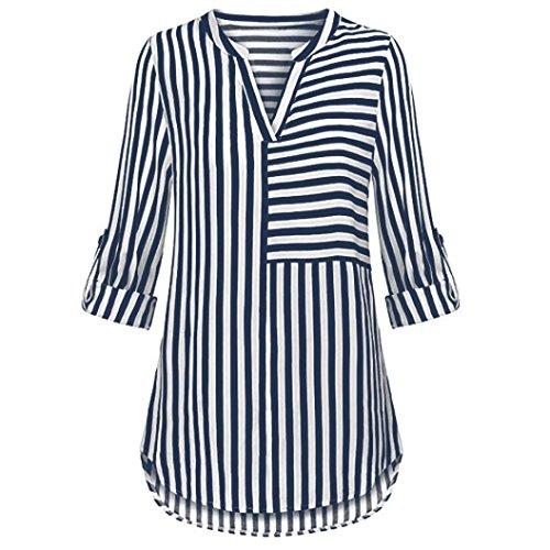 Meibax camicetta di chiffon/maglietta donna elegante v collo/bluse e camicie manica con risvolto a righe/camicia top t-shirt donna cotone (marino, s)