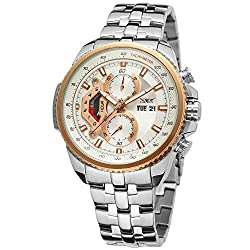 Forsining Mens Chronograph Date Japan Movement Quartz Wrist Watch with Stainless Steel Bracelet JXG558M4T2