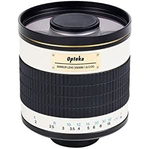 Opteka 500mm f/6.3 Telephoto Mirror Lens for Nikon D7100, D7000, D5200, D5100, D5000, D3200, D3100, D3000, D800, D700, D600, D300, D200, D100, D90, D80, D70, D60, D50, D40, D40x, D2HS, D2XS, D4 & D3 DSLR Cameras