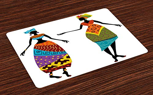 ABAKUHAUS Afrikanische Frau Platzmatten, Stammes-Damen in traditionellen Kostüm Silhouetten Ethnicity Vintage Display, Tiscjdeco aus Farbfesten Stoff für das Esszimmer und Küch, Mehrfarbig