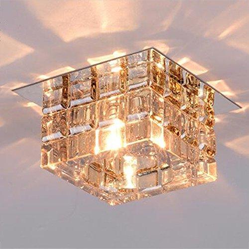 Square Flush Mount (Flush Mount LED Crystal Square Gang / Korridor / Eingangslichter / Hall Deckenleuchten (warmes Licht) Birne enthalten (Farbe: Bernstein))