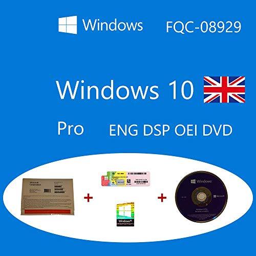 Windows 10 Pro DVD OEM FQC-08929 Inglese DSP OEI + COA olografico