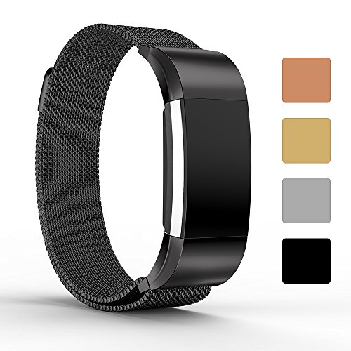 Für Fitbit Charge 2 Ersatz Uhrenarmband, iFeeker Magnet Lock Milanese Loop Edelstahl Smart Watch Armband Strap für Fitbit Charge 2 Herzfrequenz und Fitness Wrist Band (Kein Tracker) (Band Xl Fitbit)