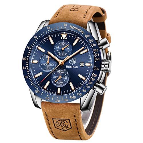BENYAR Reloj cronógrafo para Hombre Movimiento de Cuarzo Correa de Cuero Fashion Business Sports Watch 30M Impermeable Elegante Regalo de los Hombres
