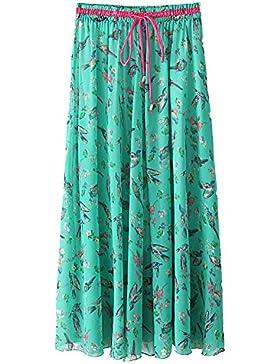 Quge Mujer Maxi Larga Falda Casual Bohemia Playa Gasa Skirt Con Estampado Floral