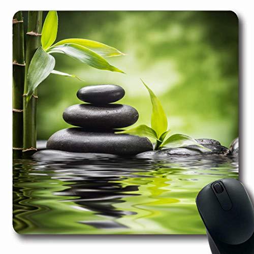 Aromatherapie-garten (Luancrop Mousepads Schwarz Grün Spa Zen Basalt Steine   Bambus Aromatherapie Natur Garten Rock Ayurveda Balance Massage rutschfeste Gaming Mouse Pad Gummi Längliche Matte)