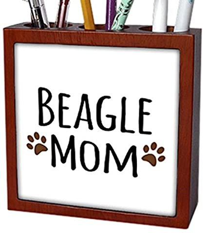 3dRose ph_154065_1 Beagle Dog Mom Doggie by Breed Brown Muddy Paw Prints Doggy Lover Proud Mama Pet Owner Love Tile Pen Holder, 5-Inch