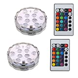 Luces LED sumergibles, NOTENS Multicolor impermeable sumergible RGB Cambio de control remoto LED Florero de té Lámpara floral a base de florero para el banquete de boda Decoraciones de tanques (2 piezas)