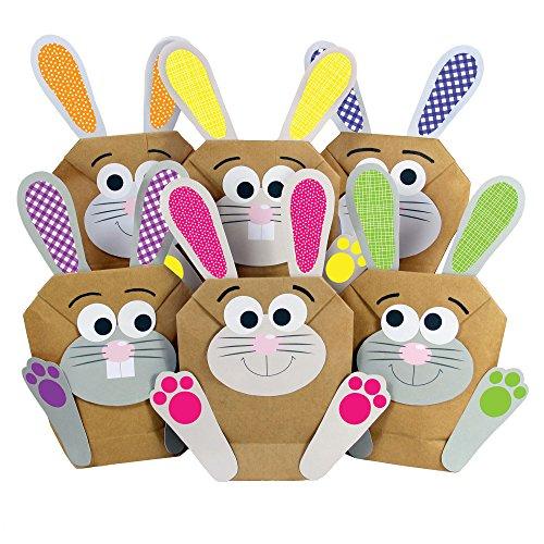 12 DIY Osterhasen Tüten - bunte Geschenktüten zu Ostern zum selber Befüllen – zum Verpacken von Geschenken für Kinder und Erwachsene