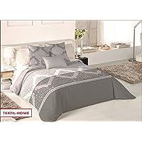 Textilhome - Funda Nórdica ARIAN - Cama 150 - 240x260cm . Color Gris + 2 Fundas Cojín 60X60cm.
