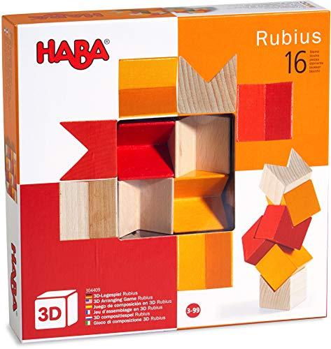 HABA 304409 - 3D-Legespiel Rubius, 16 Holzbausteine in 3 Farben für kreatives Legen und Bauen in alle Richtungen, Spielzeug ab 3 Jahren