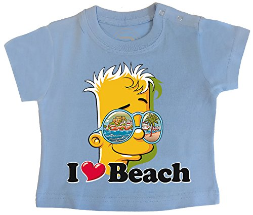 PIXEL EVOLUTION 3D Animierte T-Shirt Baby Bart Love Beach in Augmented Reality Größe 6 Mois - Himmelblau (Blaue Pixel Sonnenbrille)