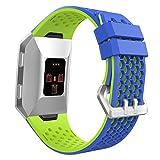 MoKo Armband für Fitbit Ionic, Silikon Sportarmband Uhrenarmband Uhr Erstatzband Wrist Band für Fitbit Ionic Health & Fitness Smartwatch, Armbandlänge 130mm-230mm, Blau/Grün