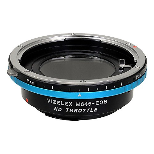 Fotodiox Adapter Pro ND Mamiya 645 (M645) Linse für Canon EOS Variable ND Filter (ND2-ND1000) - Vizelex ND Throttle Lens Mount Adapter from Fotodiox Pro - Mamiya 645 (M645) Lens to Canon EOS (EF, EF-s) Camera (APS-C & Full Frame such as 7D, 5D Mark III) - with Built-In Variable ND Filter (ND2-ND1000) -