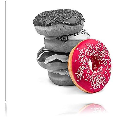 Ciambelle dolci Nero / Bianco, Dimensioni: 120x80 su tela, XXL enormi immagini completamente Pagina con (Fragola Caffè Aromatizzato)