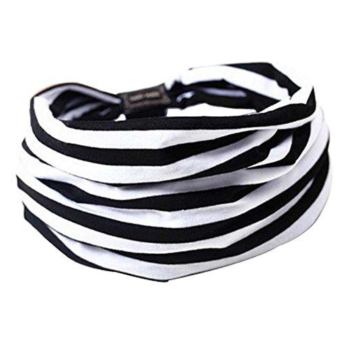 Lot de 2 noir et blanc à rayures sport Bandeaux cheveux bandes 23x20 cm