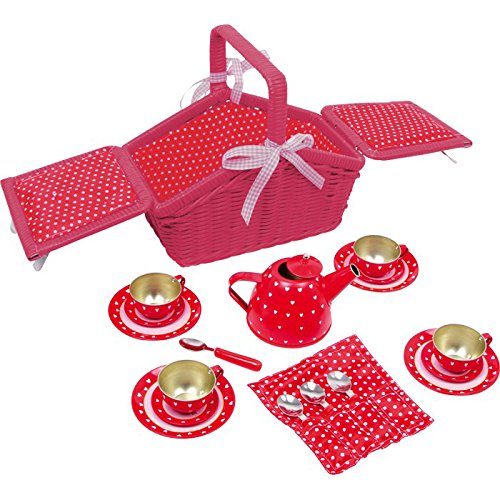 "small foot 5303 Childrens play tinware Picnic basket ""Sarah"", incl. extensive accessories, 18 pieces, from 3 years"