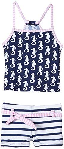 Snapper Rock Ensemble de bain tankini anti-UV pour fille Motif hippocampe Bleu marine Bleu Bleu/blanc/rose
