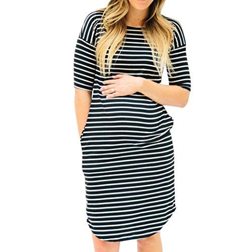 MCYs Damen Umstandskleid Stillkleid Mutterschafts Kleid Streifen Kurzarm Umstandsmode Schwangerschafts Kleid Kurzarmes Rundhals Nachtwäsche Pregnants O-Ausschnitt Pflege Maternity (L, Schwarz)