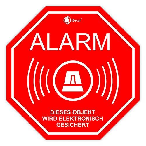 6er Alarm-Aufkleber-Set I Hin_166 5x5 cm I Achtung Gebäude, Objekt ist elektronisch Alarm-gesichert I für Fenster-Scheibe, Tür I innenklebend Wetterfest
