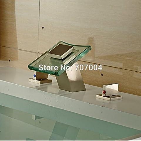 Montaje de cubierta de moda TougMoo 3pcs Cascada de cristal grifo mezclador Lavabo niquel cepillado 3 agujeros grifo del baño toca