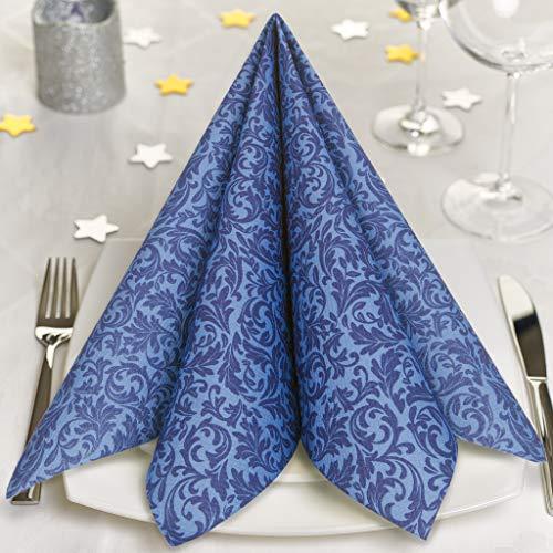 GRUBly Servietten BLAU | Stoffähnlich [50 Stück] | Hochwertige Blaue Servietten, Tischdekoration für Hochzeit, Geburtstag, Feiern, Taufe, Kommunion, Konfirmation | 40x40cm | AIRLAID QUALITÄT