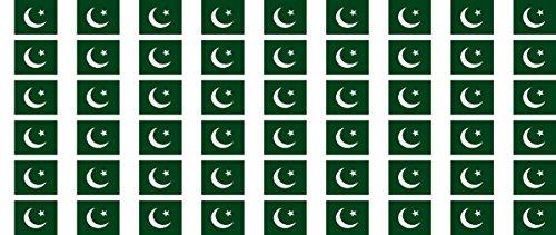 Mini Aufkleber Set - Pack glatt - 20x12mm - selbstklebender Sticker - Pakistan - Flagge / Banner / Standarte fürs Auto, Büro, zu Hause und die Schule - 54 Stück -