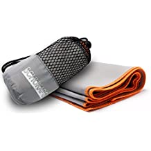 Schukaps Fitness - Toalla de microfibra 80x40cm Gris con bordado Naranja compacta y de secado rapido con bolsa para viajes - Deporte Piscina Playa Yoga y Gimnasio