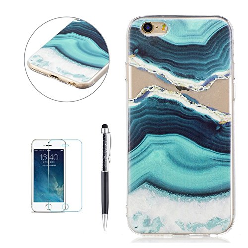 Cover Custodia per iPhone 6 / 6S, Hancda TPU Ultra Sottile Copertura Bumper Custodia Trasparente in Silicone Antiurto Resistente Colorate Gomma Gel Case Antishock Morbida Cassa Cover per iPhone 6 / iP Marmo 5