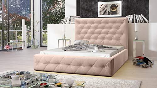MG Home Möbel Bett Polsterbett Schlafzimmer Doppelbett Roma Beige (Amore Beige, 180 x 200 cm)