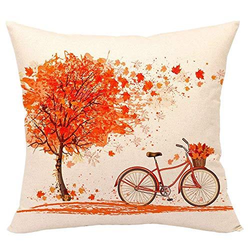 VNEIRW Platz Print Kissenbezug 45x45cm,Leinen Ahornblatt Ahornbaum Fahrrad Drucken Kissenhülle Dekokissen Zierkissenbezüge Auto Home Dekor (Orange)