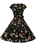 Dressystar Damen Vintage 50er Cap Sleeves Dot Einfarbig Rockabilly Swing Kleider Kleine Schwarze Kirsche A L