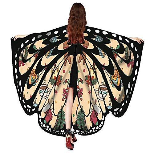 MRULIC Erwachsene Schmetterlingsflügel Damen Kostümzubehör Weihnachten Trenchcoat Im -