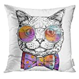 Trsdshorts Throw Pillow Cover Hipster Portrait of Cat in Glasses with Bow Tie White Animal Decorative Pillow Case Home Decor Square 18x18 Inches Pillowcase