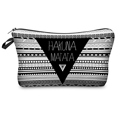 Neceser para cosméticos, estuche, bolsa con cierre de cremallera, diseño con texto 'Hakuna Matata', estampado azteca